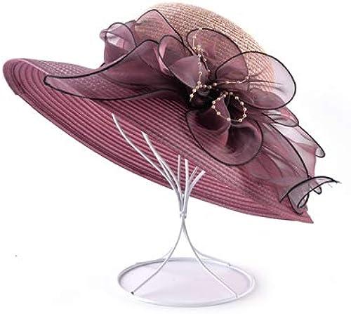 GUOMAOUP Chapeau Chapeau De Soleil De Fleurs D'été Mme. Chapeau De Plage Perle Casquette De Mme. Chapeau Pare-Soleil De Mme grand Side Mme Panama ComHommesce Mme Rouge