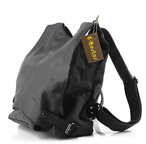 E-Bestar Borsa Zaino Backpack Cartella a Spalla Tracolla Cachi in in pelle Nabuck naturale Uomo Donna Unisex borsa Vintage per Scuola Viaggi Escursioni (Nero)