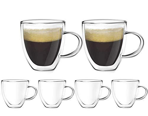 [6-Pack,160ml/5.4oz] Design•Master-Hochwertige Espressotassen aus Glas, doppelwandiges Isolierglas mit Henkel, thermoisoliertes Glas, perfekt für Espressomaschine und Kaffeemaschine.