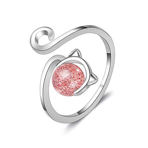 WHX DamenRingeEdelstahl,Lady Cat Pink Strawberry Crystal offen Ringfinger Ring für alle Gelegenheiten