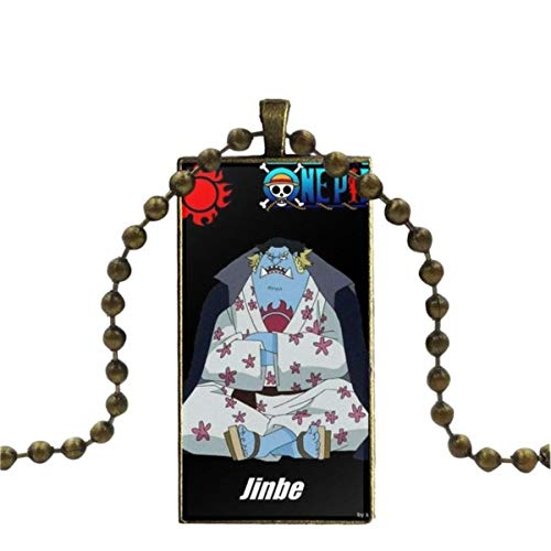 WXWXYS For Wedding Anime One Piece Jinbeius Design Fashion Vintage Glass Women Rectangle Necklace Pendants