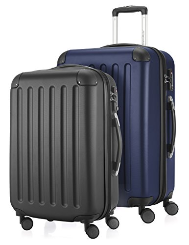 HAUPTSTADTKOFFER - Spree - 2er Koffer-Set Hartschale Matt, TSA, 55 / 65 cm, mit Volumenerweiterung, Schwarz-Dunkelblau