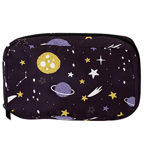 Bolsas cosméticas espaciales planetas estrellas y cometas práctica bolsa de viaje Oragniser bolsa de maquillaje para mujeres y niñas