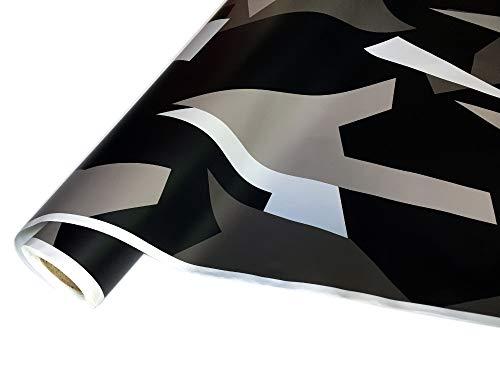 folimac 8,50€/m² Camouflage Autofolie Selbstklebend mit Luftkanäle Schwarz weiß Grau Dunkelgrau #31 (400cm x 152cm)