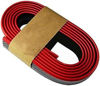 Autotrends Samurai Black Red Carbon Fiber Look Car Body Kit Bumper Lip Side Skirt Rubber Edge Decorative Protector Trim