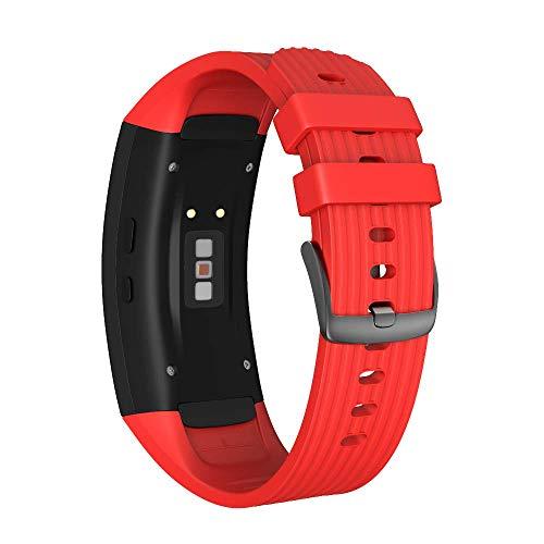 ANBEST Kompatibel mit Samsung Gear Fit 2/Gear Fit 2 Pro Armband, Silikon Sport Zubehör Uhrenarmband für Samsung Gear Fit 2 SM-R360/Fit 2 Pro SM-R365(Rot,L)