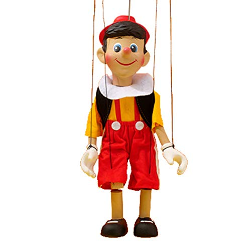 Handmade Wooden Pinocchio Marionette Puppet for Boys and Girls, Novelties String Pinocchio Puppet Costume (Yellow Clothes,30cm)