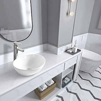 """Sinber 16"""" x 13"""" White Oval Ceramic Countertop Bathroom Vanity Vessel Sink"""