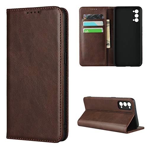 Copmob Hülle Oppo Reno4 5G,Premium Flip Leder Brieftasche Handyhülle,[3 Kartensteckplatz][Ständerfunktion][Magnetverschluss],Ledertasche Schutzhülle für Oppo Reno4 5G - Dunkelbraun