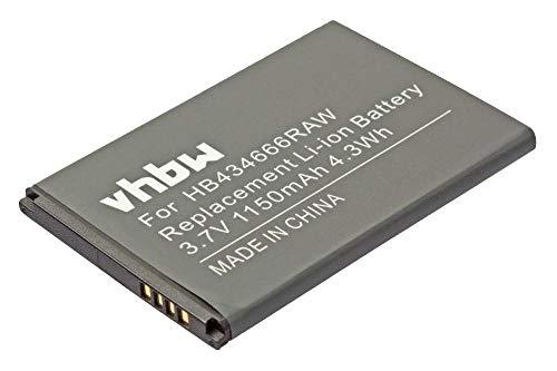 vhbw Li-Ion batería 1500mAh (3.7V) para teléfono móvil Smartphone Huawei E5577C, E5577S, E5577CS-321 y HB434666RAW, HB434666RBC.