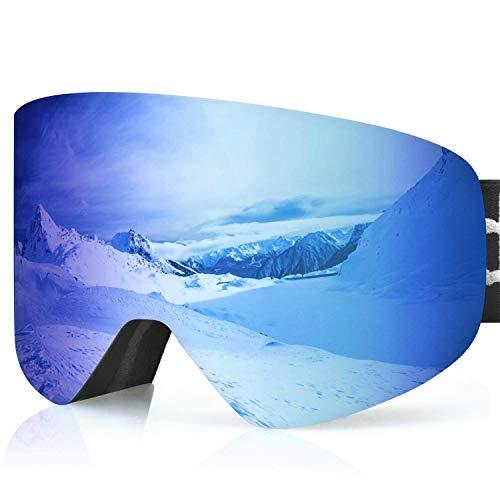 devembr Gafas de Esquí Hombre/Mujer, Gafas Snowboard Pro con Sistema Airflow, Magnéticos Lentes Intercambiables, OTG Gafas Ski con Gran Campo de Visión,Compatible con Casco (Azul, VLT 18{ba5d86edcbcdc3a84ef565528f9eb5f73ebcae51322229e72a1742a03a97930d})