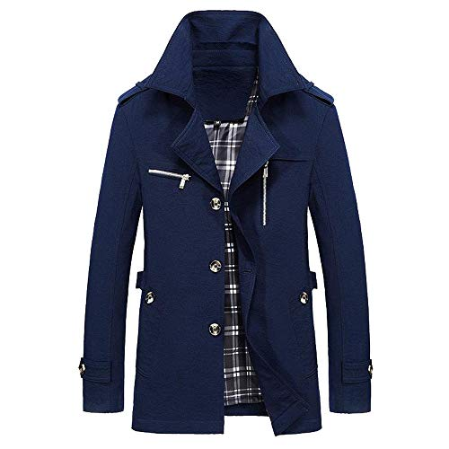 iYYVV Mens Winter Warm Jacket Overcoat Outwear Slim Long Trench Buttons Coat Jacket Navy