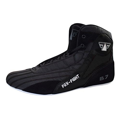 FOX-FIGHT B7 Kampfsport Schuhe Black Edition Boxstiefel Ringer athletik Fitness Gym Box Hog Bodybuilding High Tops 44 Black