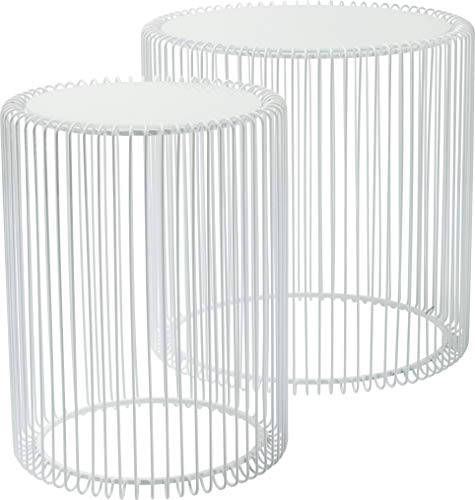 Moebel Power Kare Design Mesita Baja Filo, Set di 2, Blanco, 45 x 44 cm, 45x44x44 cm