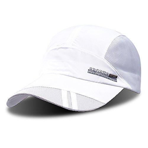 Baseballkappe, Outdoor-Cap zum Laufen, schnelltrocknend, atmungsaktiv, Unisex, von ZEARE, weiß