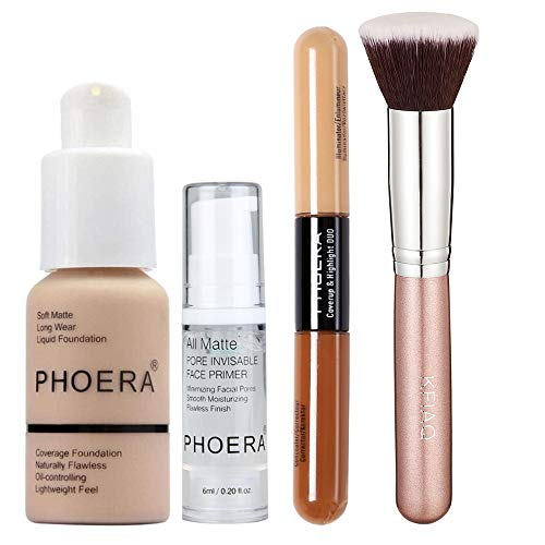 PHOERA 30ml Foundation Liquid Full Coverage 24HR Matte Oil Control Concealer (Nude #102) with 6ml Makeup Face Primer & Double Head 2 Colour Brighten Skin Concealer & Flat Top Kabuki foundation Brush