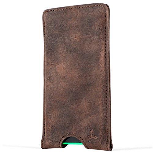 Snakehive® Nokia Lumia 735 Funda cartuchera de la Colección Vintage en Cuero Nubuck con Ranuras para Tarjetas de crédito/Billetes (Castaño)