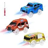 Sirecal Magic Track Race Car - 3Pcs Coche de Carreras 5 Led Lights (SUV, Ambulancia, vehículo de ingeniería) Circuito Coches Juguete Accesorios de Pista para Niños 3 4 5 6 Años
