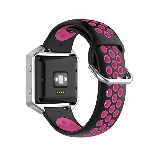 KINOEHOO Correas para relojes Compatible con Fitbit Versa/Versa 2/ Versa Lite/Blaze Pulseras de repuesto.Correas para relojesde siliCompatible cona.(Rosa roja negro)