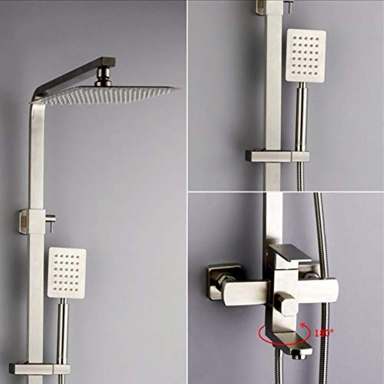Neue Luxus-Wand-Edelstahl-Regenduscharmaturen Set-System kaltes und heies Wasser Square Handbrausekopf