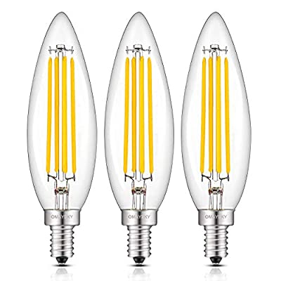 OMAYKEY 8W Dimmable LED Candelabra Bulb 80W Equivalent 800LM 2700K Warm White, B11 Clear Glass Lengthened Candle Torpedo Tip, E12 Base LED Filament Chandelier Light Bulbs, Deep Dimming Version, 3 Pack