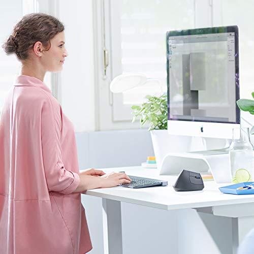 Logitech MX Vertical, Ergonomische Kabellose Maus, Bluetooth und 2.4 GHz Verbindung via Unifying USB-Empfänger, 4000 DPI Sensor, Wiederaufladbarer Akku, 4 Tasten, Multi-Device, PC/Mac/iPadOS - Schwarz
