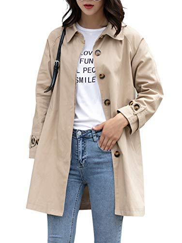 여성 캐주얼 버튼 다운 코튼 재킷 루스 피트 코트 아웃어웨어 롱 슬리브