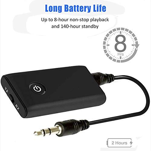 Bluetooth 5.0 Trasmettitore Ricevitore, 2-in-1 Wireless 3.5mm Jack Audio Adattatore Bluetooth, Bassa latenza Adattatore Wireless Portatile Audio Stereo con Cuffie  Altoparlanti  Auto  TV  PC  MP3  MP4