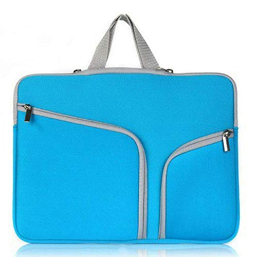 Double Pocket Zipper Bag Inner Handle Computer Bag Handbag Laptop Bag Sleeve Case Cover Liner Bag For Macbook - Blue - 14 inch