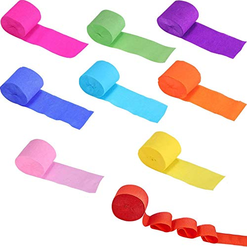Crepe Paper Rolls Paper Streamers Party Craft Streamers Hanging Decorations Rainbow Paper Streamers Streamer Paper Decorations Assorted Colors for Birthday Wedding Concert Various Festivals 9 Rolls