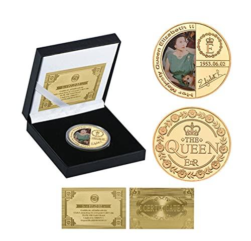ZKPNV Monedas Conmemorativas Queen Elizabeth II Gold Collectibles Coin Original con Caja De Regalo Royal Family Monedas Conmemorativas Regalo para Hombre