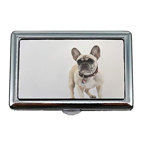 Zigaretten-Aufbewahrungsbehälter/Box, französischer Bulldogge-Hund Reinrassiger Haustier Hund, Visitenkartenetui Visitenkartenetui Edelstahl