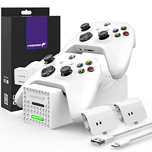 Fosmon Dual Stazione di Ricarica Compatible con Controller Xbox Series X/S 2020 (Non per Xbox One / 360), (Dual Slot) Caricabatteria Docking Station e 2X Batteria Ricaricabile - Bianca