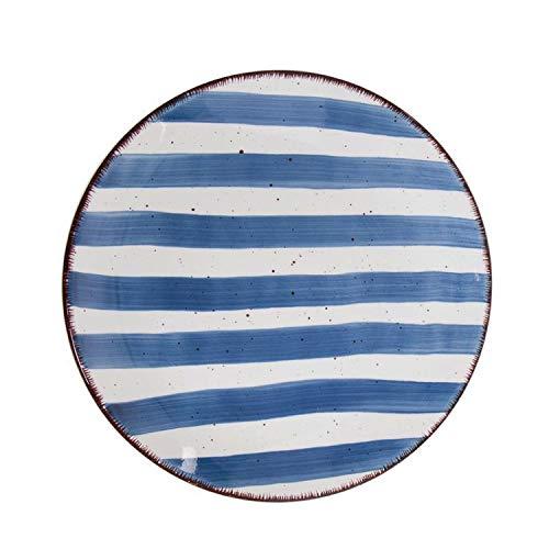 Vidal Regalos Plato Llano Ceramica 19 cm Rayas Azul