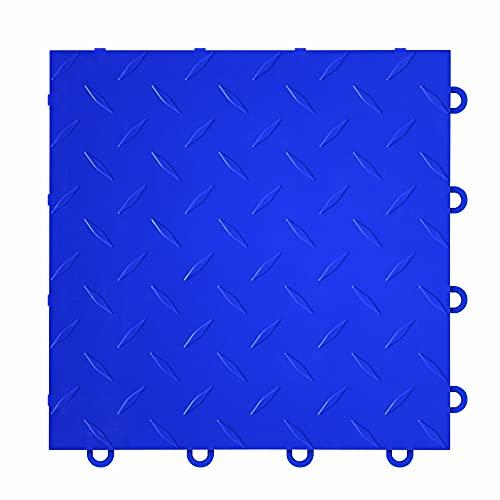 "IncStores ⅜ Inch Thick Nitro Interlocking Garage Floor Tiles | Plastic Floor Tiles for a Stronger and Safer Garage, Workshop, Shed, or Trailer | 12""x12"" Tiles, Diamond, Blue, Pack of 52"