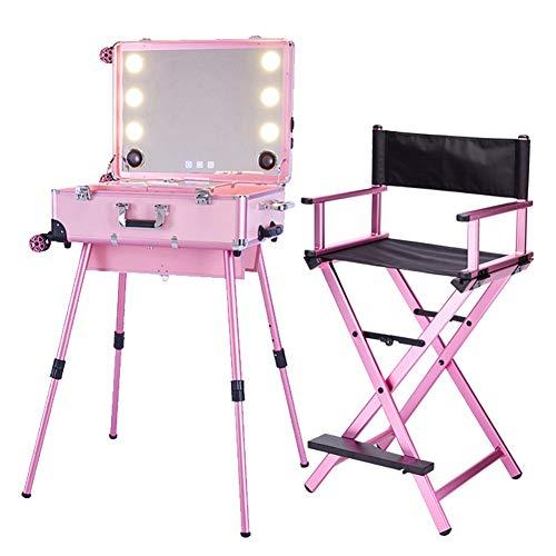 Estuche de maquillaje profesional 2 en 1 Trolley Estuche cosmético portátil para artistas con luces LED Espejo Negro Silla plegable de gran capacidad para director,Rosado