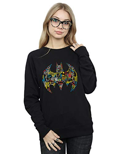 DC Comics Damen Batman Batgirl Logo Collage Sweatshirt Schwarz Small