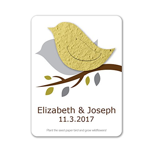 Bloomin Plantable Love Bird Wedding Favor with Seed Paper - Chartreuse (25 Card Set)