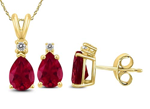 Genuine Luxurious 3 Cttw Ruby & Diamond (G-H, I1-I2) Earrings and Necklace Set In 14K Yellow Gold