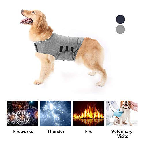 XLSFPY Dog Anxiety Jacket, Stress Relief Calming Coat for Large Dogs, Calming Solution Vest for Fireworks, Travel and Separation, Grey