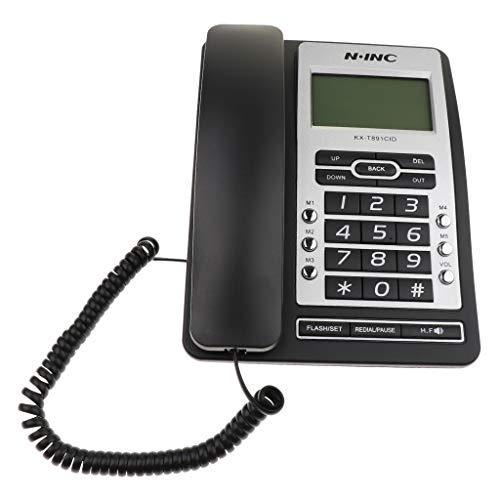 balikha Botón Grande del Teléfono de Casa del LCD del Teléfono del Identificador de Llamadas con Cable del Altavoz de Escritorio de Rellamada - Negro
