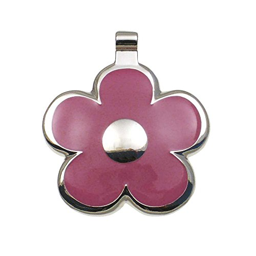 LuckyPet Flower Jewelry Pet ID Tag for Dogs and Cats, Easy to Read Personalized Engraving on Back Side, Small, Pink