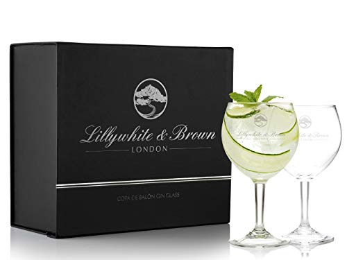 Bicchieri Premium da Gin di Lillywhite & Brown - Calici a palloncino grandi da cocktail, vino o Gin Tonic - Set da 2 – 630 ml
