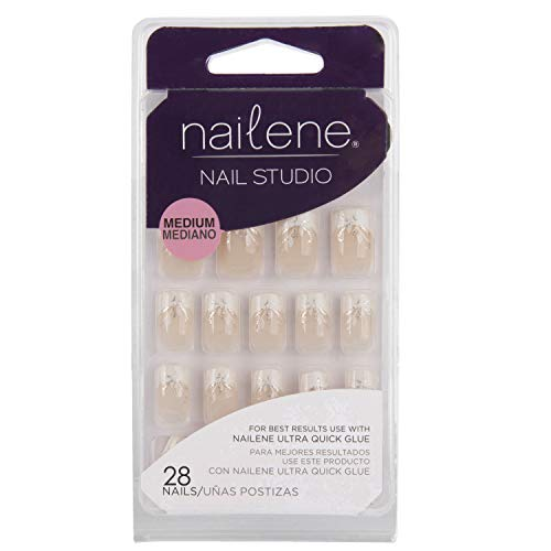 Nailene Nail Studio French Nails mit Glitter und Blattdesign