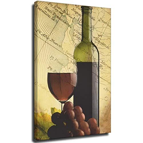 Uvas rojas Copa de vino y botella de cocina toscana pared Marco-estilo1 20 × 30 pulgadas (50 × 75 cm)