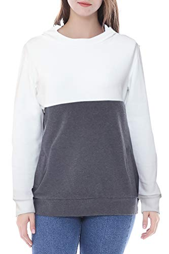 Smallshow Stillpullover Hoodie Damen Langarm Stillen Shirt Patchwork Invisible Zipper Kapuzenpullover White-Dim Grey XL