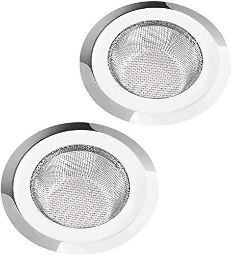 zhifan Filtro de fregadero, tapa de drenaje de acero inoxidable, lado ancho grande, 10 cm de diámetro, filtro de drenaje de malla antiobstrucción (paquete de 2)