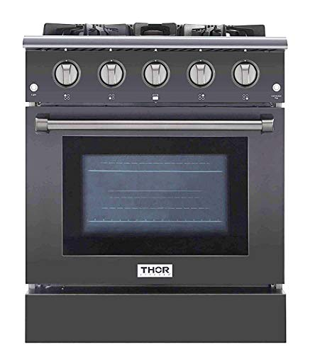 Thor Kitchen Free Standing Freestanding Professional Style Gas Range with Burners, Convection Fan, Cast Iron Grates, and Blue Porcelain Oven Interior, in Stainless Steel (30'3080GMT)