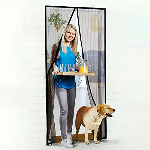 """Magnetic Screen Door, Rends 36""""x 83"""" Heavy Duty Mesh Curtain with Portable Velcro, Full Frame Magnetic Block & Self Sealing Magnetic Curtain Partition Keeps FlyingObjects Out, Pet and Kid Friendly"""