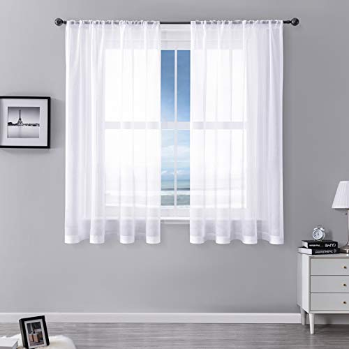 MRTREES Voile Curtains 54 Drop 2 Panels Faux Linen Rod Pocket Sheer Curtain Panel for Bedroom Living Room Patio Door 55x54 Drop 140cm x 137cm White